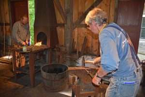 students working in Blacksmithing Teaching Studio