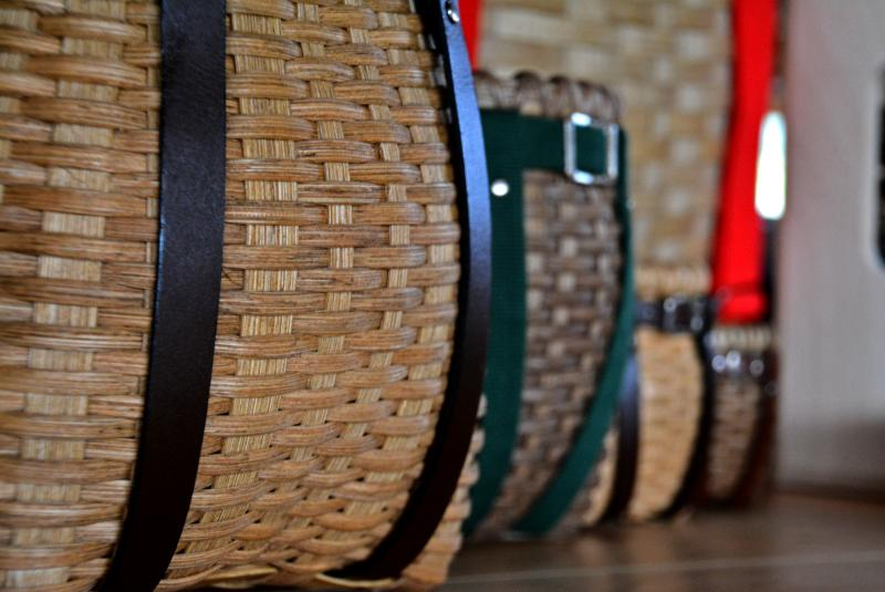 Linda's Finished Adirondack Pack Baskets with leather and cotton harnesses